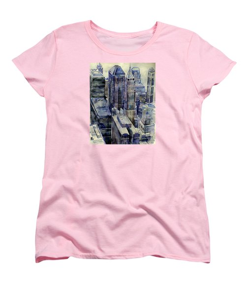 Women's T-Shirt (Standard Cut) featuring the painting Rainy Day In Gotham by Jeffrey S Perrine