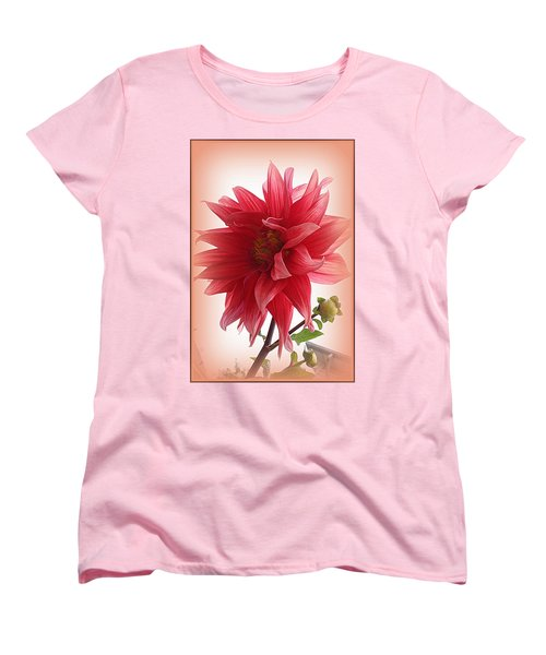 A Vision In  Coral - Dahlia Women's T-Shirt (Standard Cut) by Dora Sofia Caputo Photographic Art and Design