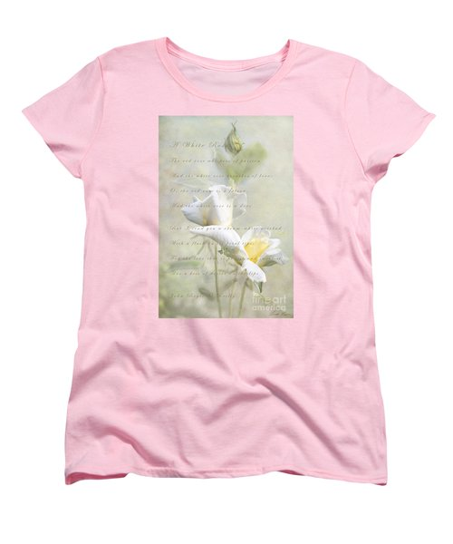 A White Rose Women's T-Shirt (Standard Cut) by Linda Lees