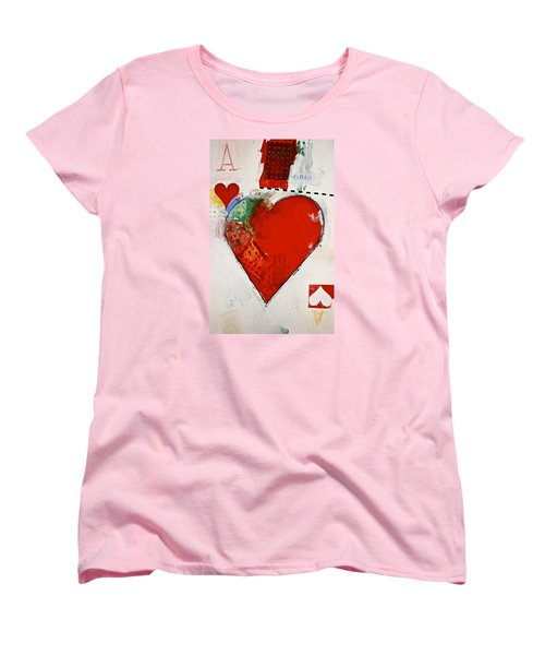 Women's T-Shirt (Standard Cut) featuring the painting Ace Of Hearts 8-52 by Cliff Spohn