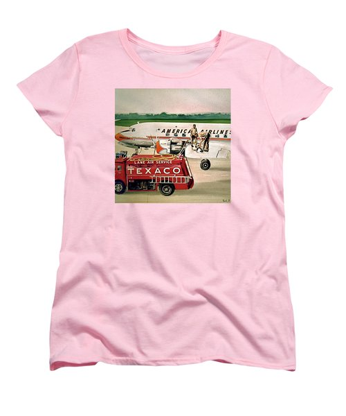 American Dc-6 At Columbus Women's T-Shirt (Standard Cut) by Frank Hunter