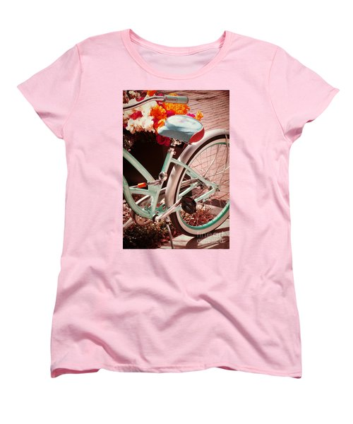 Women's T-Shirt (Standard Cut) featuring the digital art Aqua Bicycle by Valerie Reeves