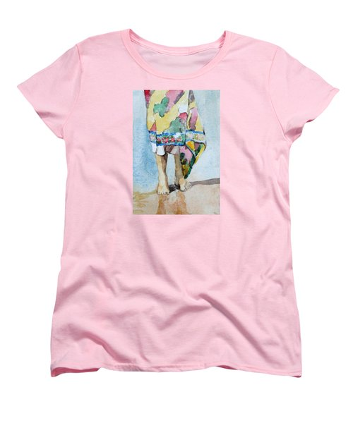 Women's T-Shirt (Standard Cut) featuring the painting At The Beach 1  by Becky Kim
