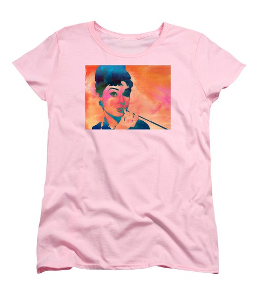 Women's T-Shirt (Standard Cut) featuring the painting Audrey Hepburn 1 by Brian Reaves
