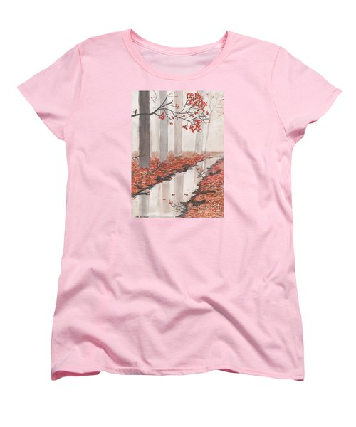 Women's T-Shirt (Standard Cut) featuring the pastel Autumn Leaves by David Jackson