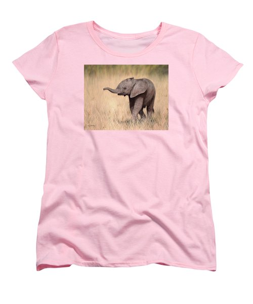 Elephant Calf Painting Women's T-Shirt (Standard Cut) by Rachel Stribbling