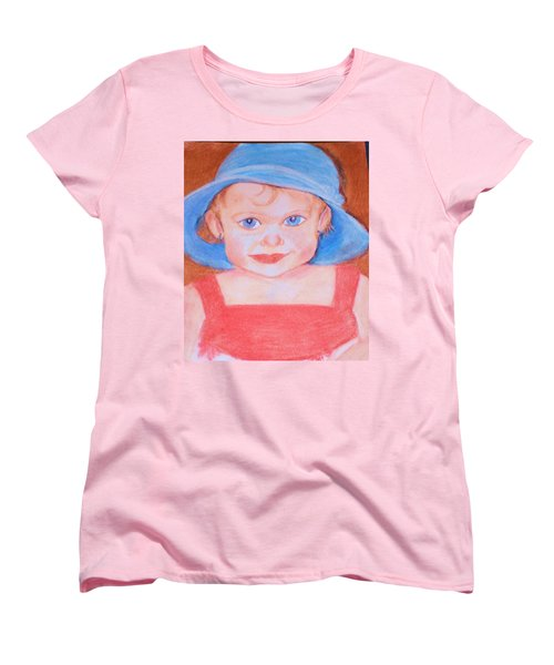 Baby In Blue Hat Women's T-Shirt (Standard Cut) by Christy Saunders Church