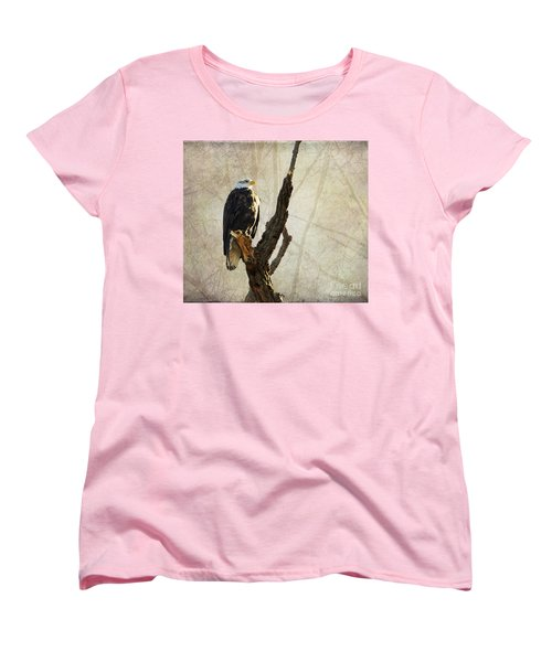 Bald Eagle Keeping Watch In Illinois Women's T-Shirt (Standard Cut) by Luther Fine Art