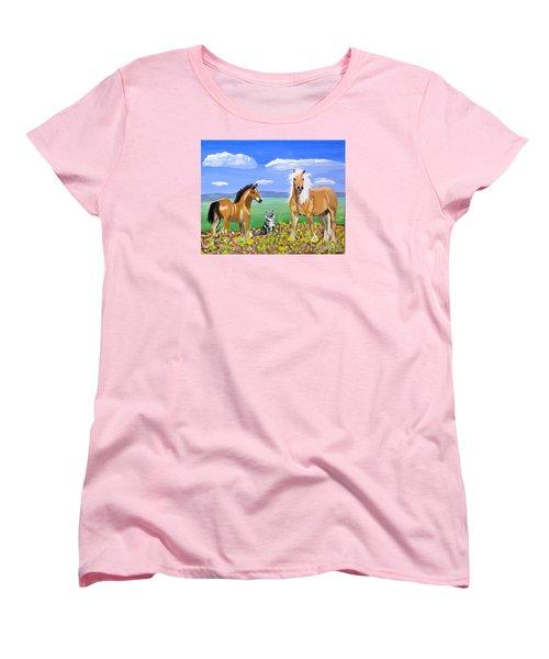 Bay Colt Golden Palomino And Pal Women's T-Shirt (Standard Cut) by Phyllis Kaltenbach