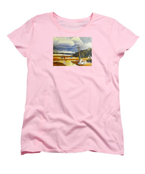 Women's T-Shirt (Standard Cut) featuring the painting Beached Boat And Fishing Boat At Gippsland Lake by Pamela  Meredith