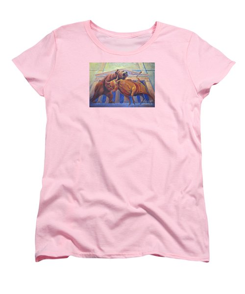 Bear Vs Bull Women's T-Shirt (Standard Cut) by Rob Corsetti