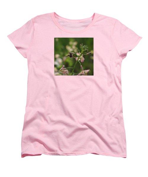 Pink Mustard Flower Women's T-Shirt (Standard Cut) by Adria Trail