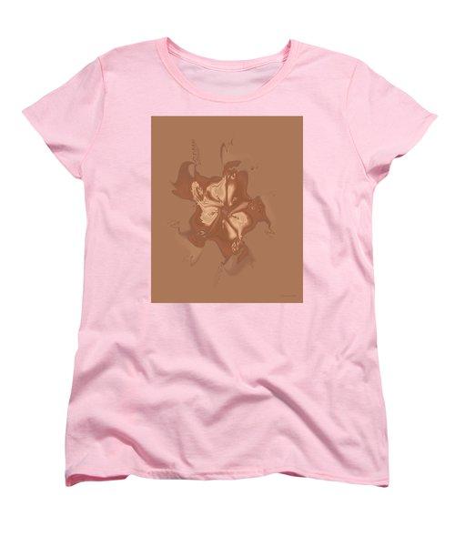 Beige Satin Morning Glory Women's T-Shirt (Standard Cut) by Judi Suni Hall