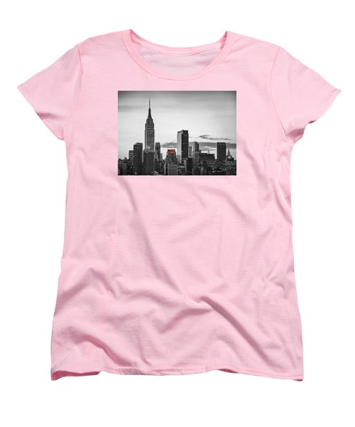Black And White Version Of The New York City Skyline With Empire Women's T-Shirt (Standard Cut) by Eduard Moldoveanu