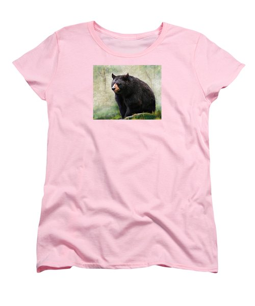 Women's T-Shirt (Standard Cut) featuring the painting Black Bear by Mary Almond