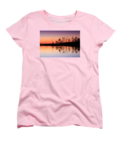 Women's T-Shirt (Standard Cut) featuring the photograph Blackwater Reflections by Jennifer Casey