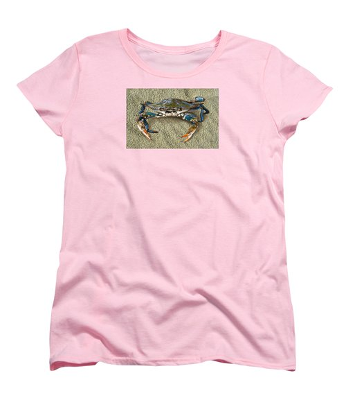 Blue Crab Confrontation Women's T-Shirt (Standard Cut) by Sandi OReilly