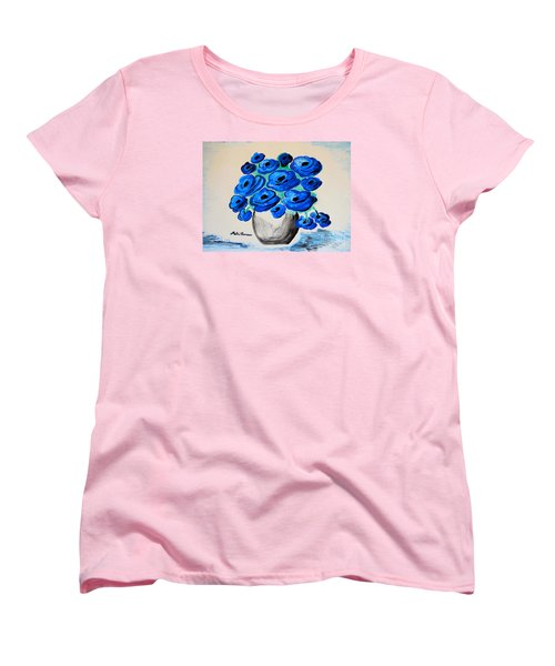Blue Poppies Women's T-Shirt (Standard Cut) by Ramona Matei