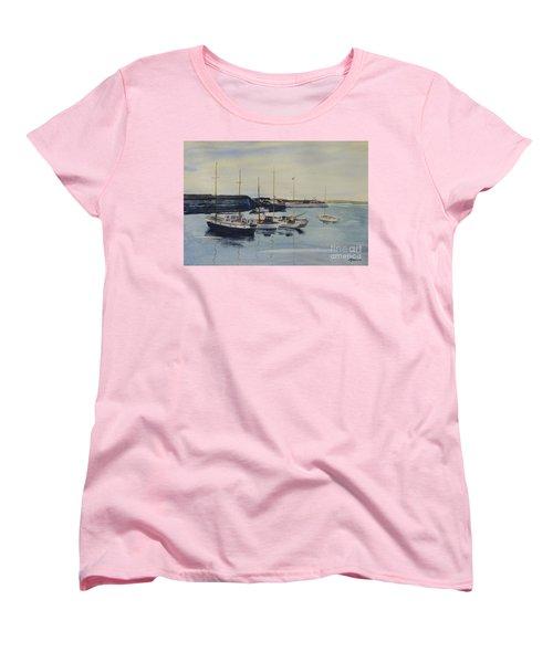 Boats In A Harbour Women's T-Shirt (Standard Cut) by Martin Howard