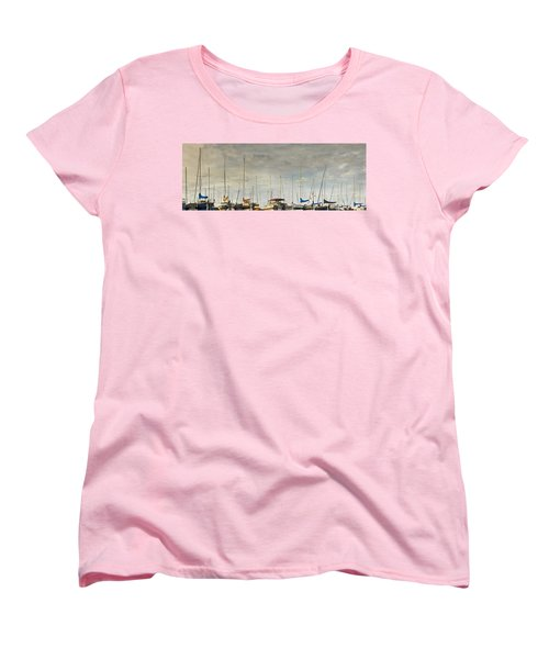 Women's T-Shirt (Standard Cut) featuring the photograph Boats In Harbor Reflection by Peter v Quenter