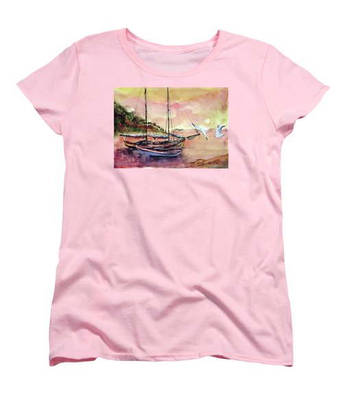 Women's T-Shirt (Standard Cut) featuring the painting Boats In Sunset  by Faruk Koksal