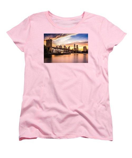 Brooklyn Bridge At Sunset  Women's T-Shirt (Standard Cut) by Mihai Andritoiu