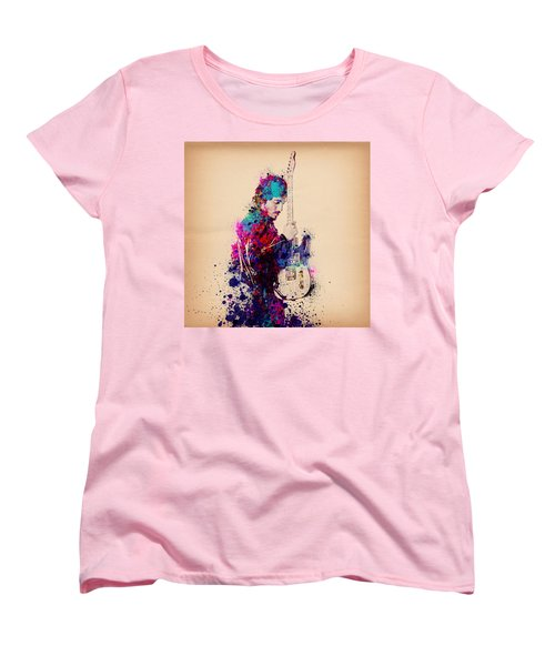 Bruce Springsteen Splats And Guitar Women's T-Shirt (Standard Cut) by Bekim Art