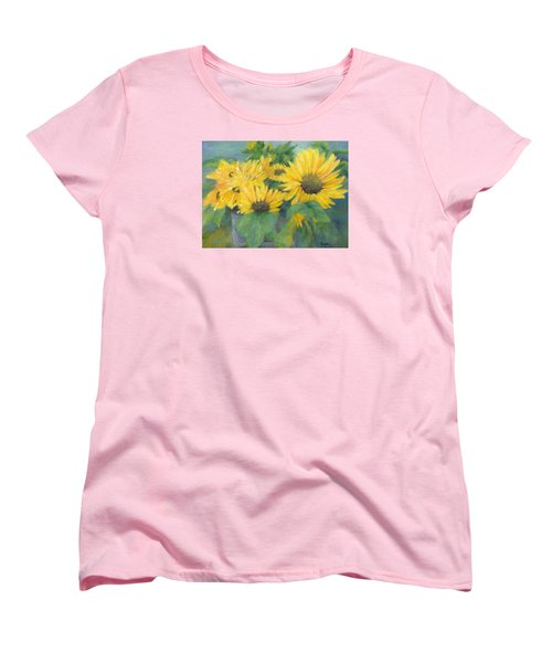 Bucket Of Sunflowers Colorful Original Painting Sunflowers Sunflower Art K. Joann Russell Artist Women's T-Shirt (Standard Cut) by Elizabeth Sawyer