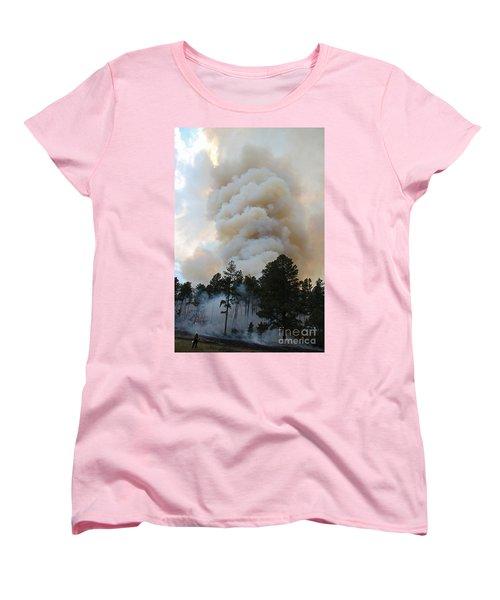 Burnout Near Song Dog Road Women's T-Shirt (Standard Cut) by Bill Gabbert