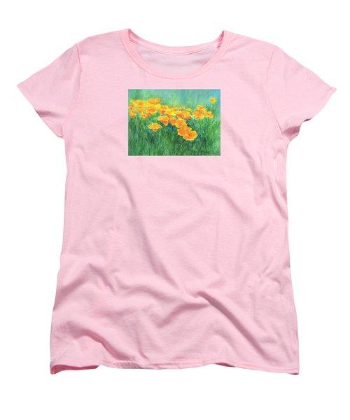 California Golden Poppies Field Bright Colorful Landscape Painting Flowers Floral K. Joann Russell Women's T-Shirt (Standard Cut) by Elizabeth Sawyer
