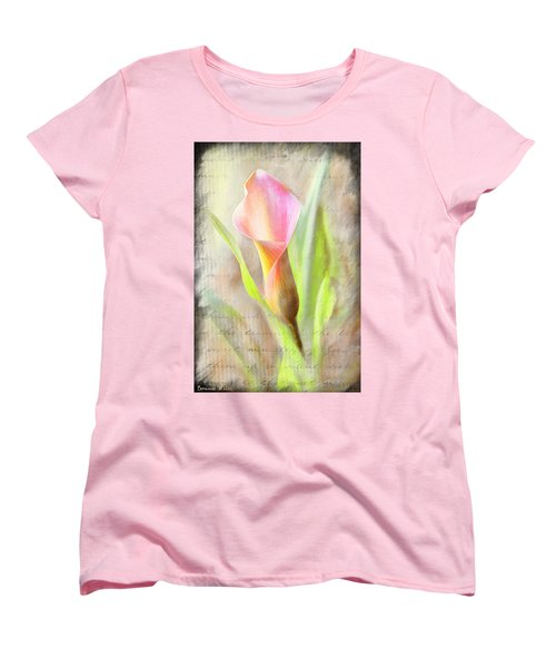 Calla Lily In Pink Women's T-Shirt (Standard Cut) by Bonnie Willis