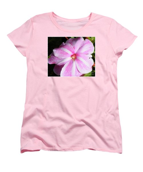 Candy Cane Impatiens Women's T-Shirt (Standard Cut) by Barbara Griffin