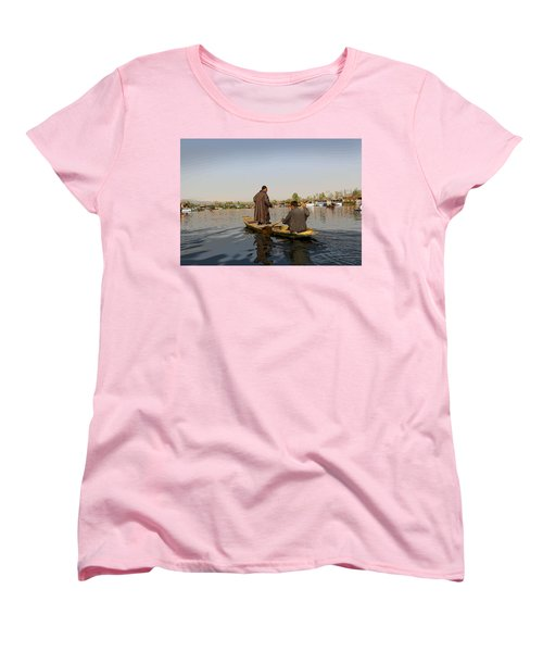 Cartoon - Kashmiri Men Plying A Wooden Boat In The Dal Lake In Srinagar Women's T-Shirt (Standard Cut) by Ashish Agarwal
