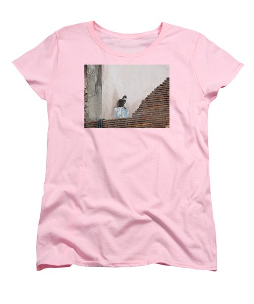Women's T-Shirt (Standard Cut) featuring the photograph Cat Above The Roman Ruins by Tiffany Erdman