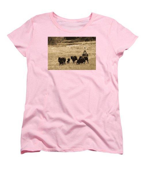 Cattle Round Up Sepia Women's T-Shirt (Standard Cut) by Athena Mckinzie