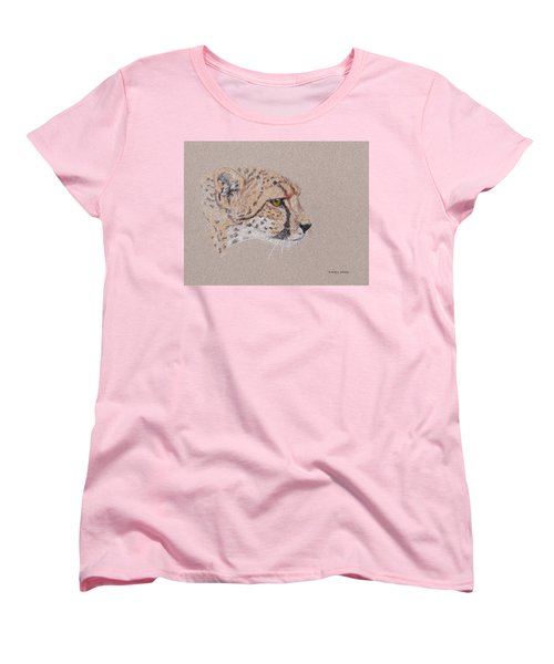 Women's T-Shirt (Standard Cut) featuring the drawing Cheetah by Stephanie Grant