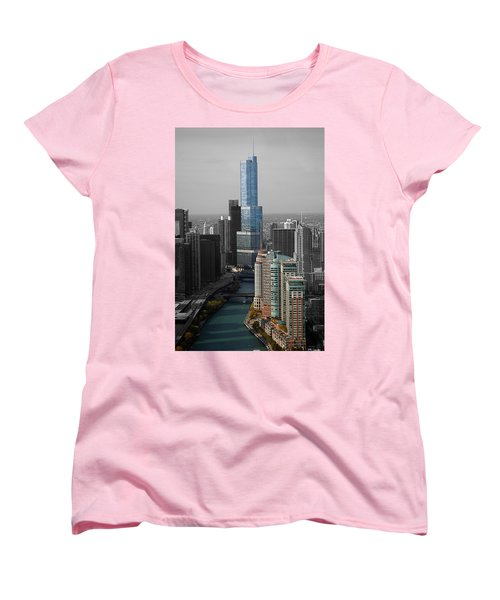 Chicago Trump Tower Blue Selective Coloring Women's T-Shirt (Standard Cut) by Thomas Woolworth