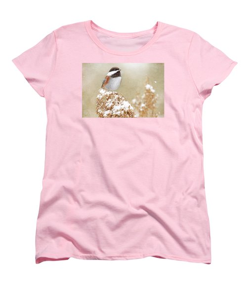 Women's T-Shirt (Standard Cut) featuring the photograph Chickadee And Falling Snow by Peggy Collins