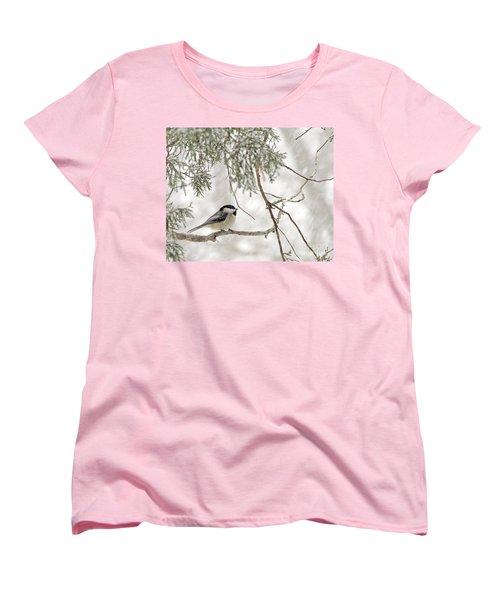 Chickadee In Snowstorm Women's T-Shirt (Standard Cut)