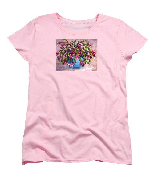 Christmas Cactus Women's T-Shirt (Standard Cut) by Lou Ann Bagnall