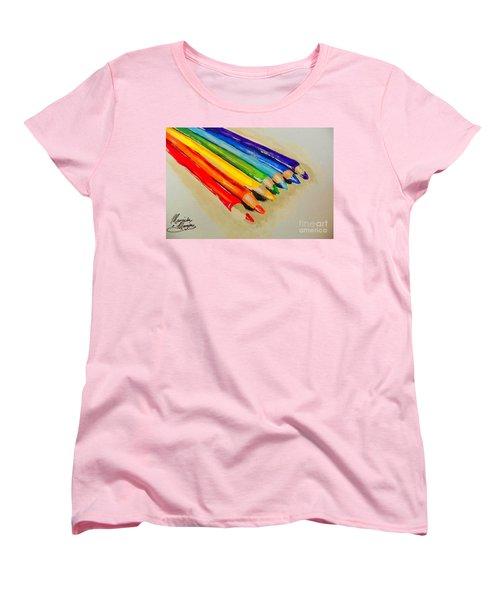Color Pencils Women's T-Shirt (Standard Cut) by Marisela Mungia