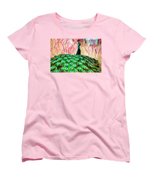 Colorful Peacock Women's T-Shirt (Standard Cut) by Matt Harang