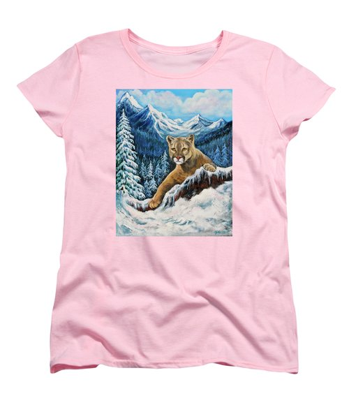 Women's T-Shirt (Standard Cut) featuring the painting Cougar Sedona Red Rocks  by Bob and Nadine Johnston