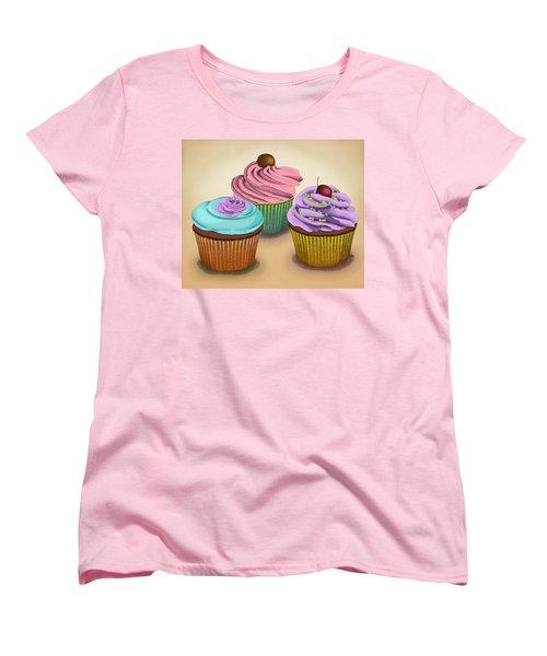 Cupcakes Women's T-Shirt (Standard Cut) by Meg Shearer