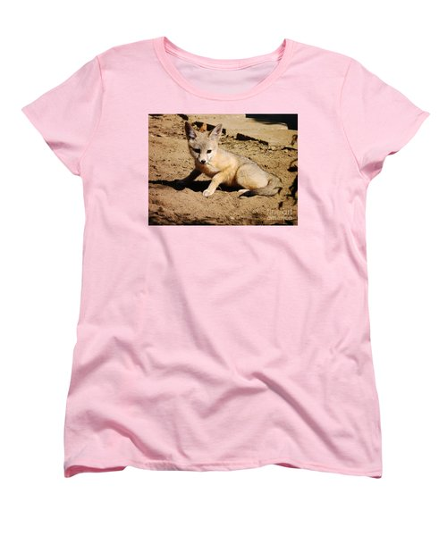 Curious Kit Fox Women's T-Shirt (Standard Cut) by Meghan at FireBonnet Art