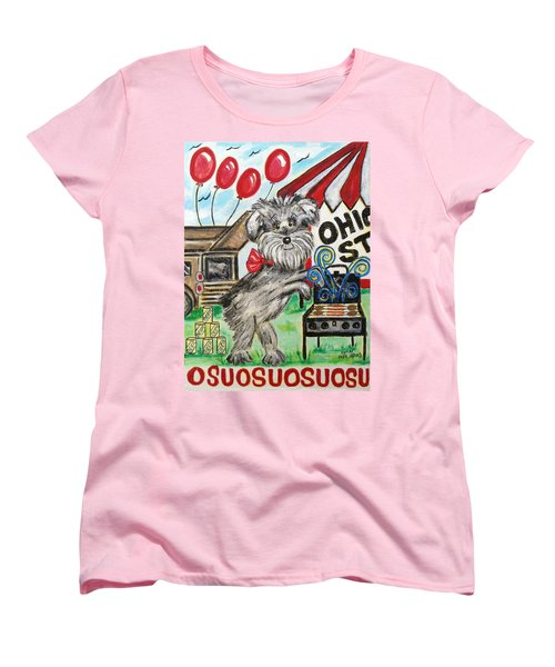 Women's T-Shirt (Standard Cut) featuring the painting Osu Tailgating Dog by Diane Pape