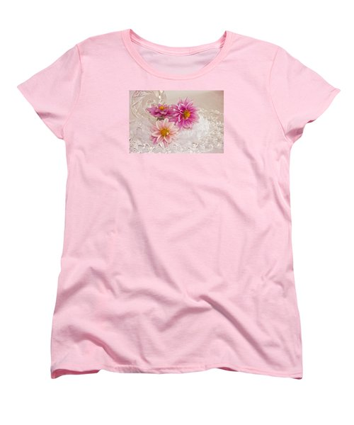 Dahlias And Lace Women's T-Shirt (Standard Cut) by Sandra Foster