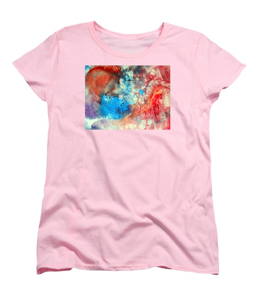 Women's T-Shirt (Standard Cut) featuring the painting Decalcomaniac Colorfield Abstraction Without Number by Otto Rapp