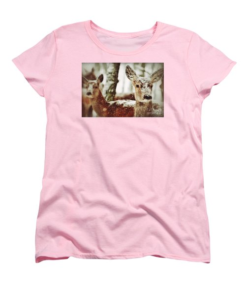 Deer In The Snow Women's T-Shirt (Standard Cut) by Nick  Biemans