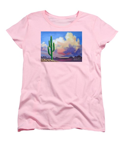 Women's T-Shirt (Standard Cut) featuring the painting Desert Cactus At Sunset by Tim Gilliland